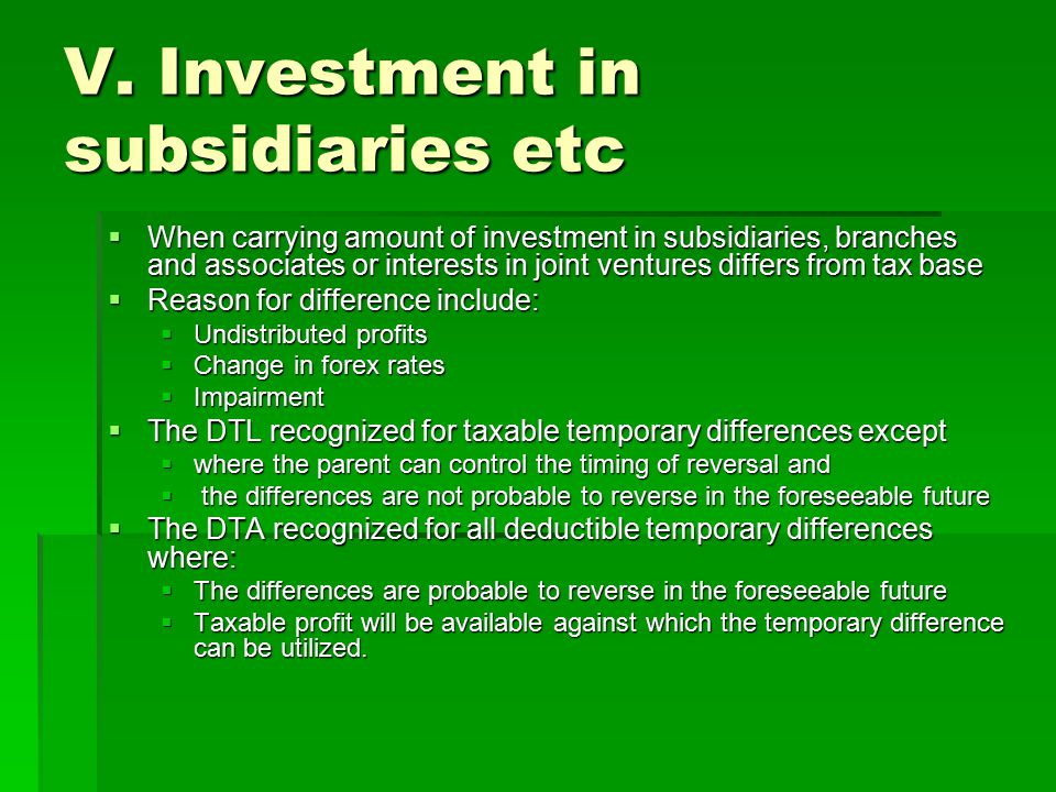 V. Investment in subsidiaries etc