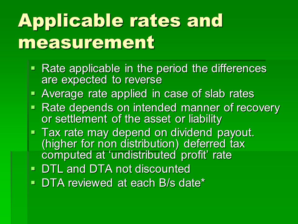 Applicable rates and measurement