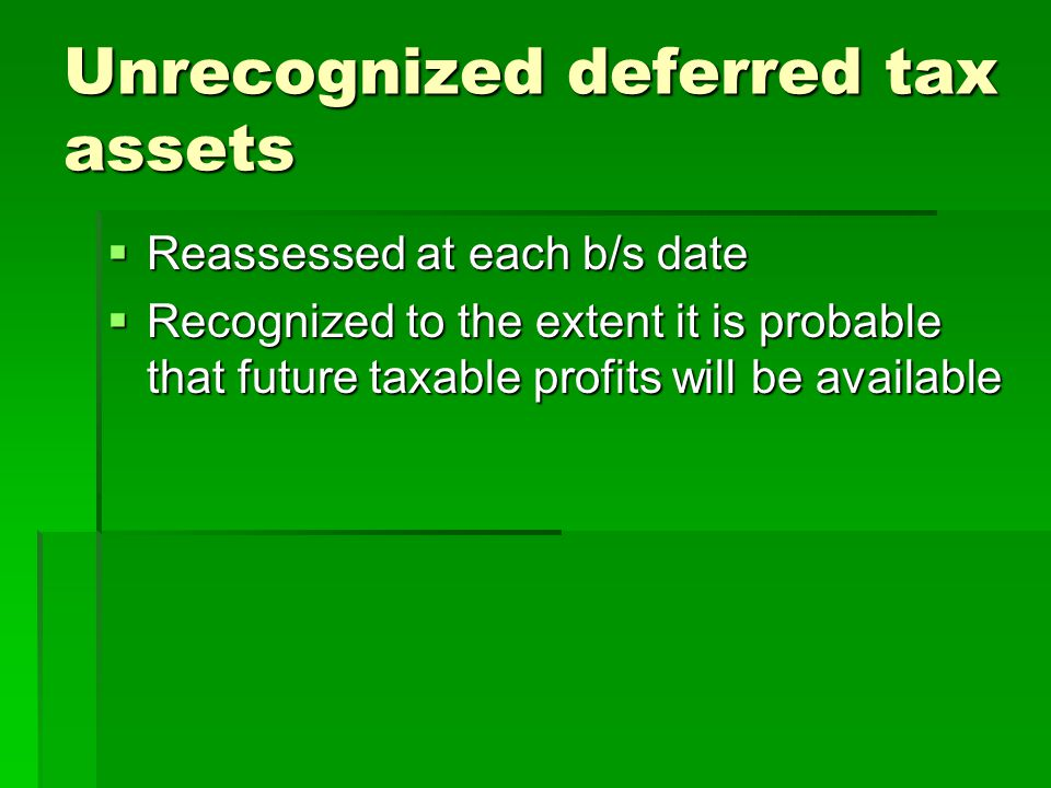 Unrecognized deferred tax assets