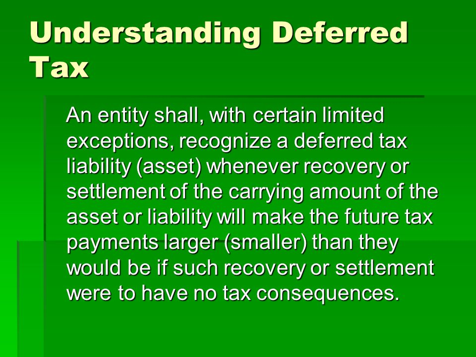 Understanding Deferred Tax