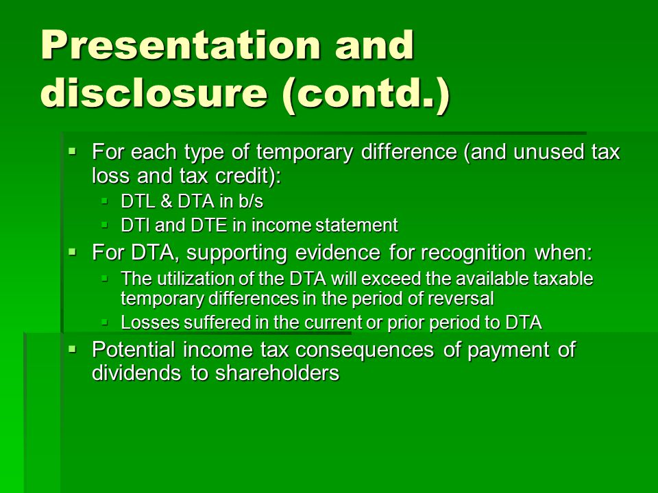 Presentation and disclosure (contd.)