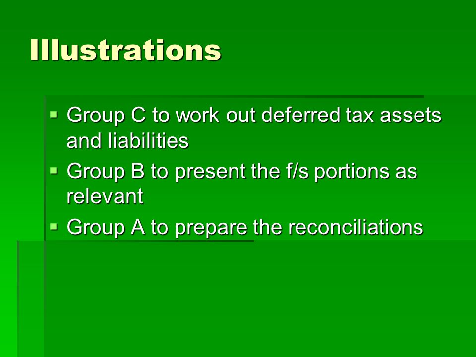 Illustrations Group C to work out deferred tax assets and liabilities