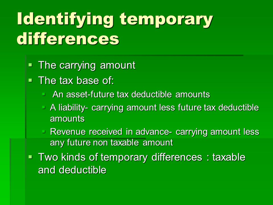 Identifying temporary differences