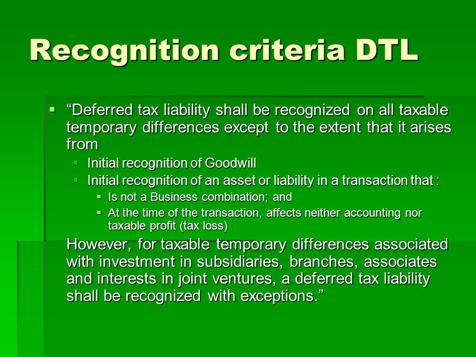 Recognition criteria DTL