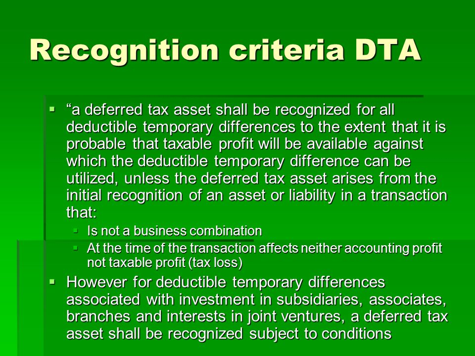 Recognition criteria DTA