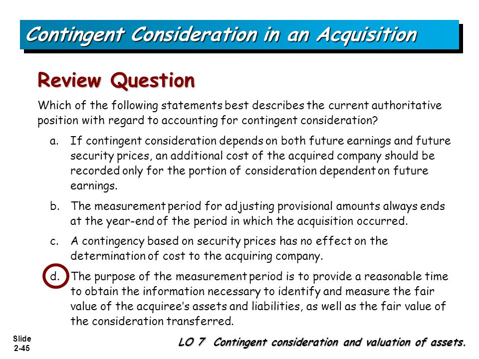 Contingent Consideration in an Acquisition