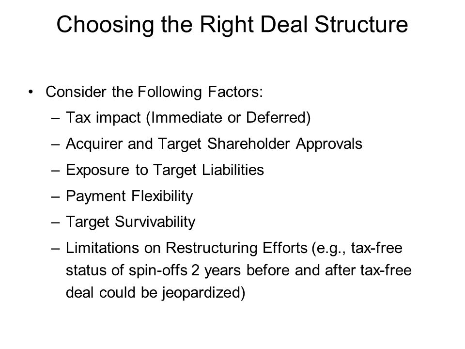 Choosing the Right Deal Structure