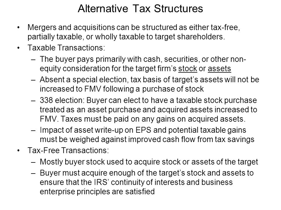 Alternative Tax Structures