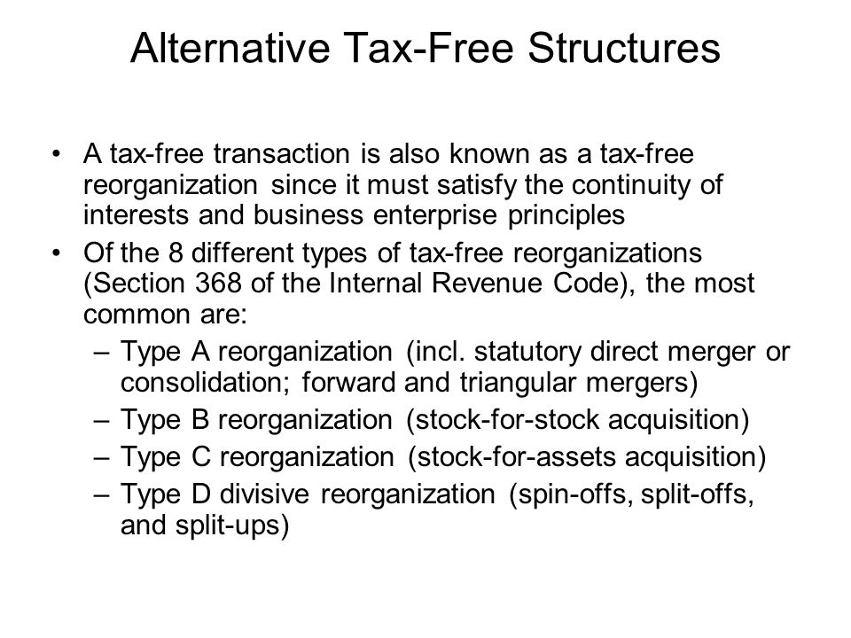 Alternative Tax-Free Structures