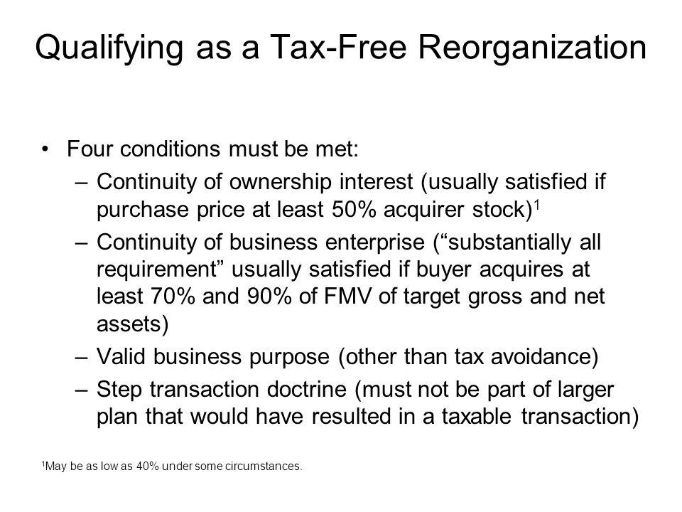 Qualifying as a Tax-Free Reorganization