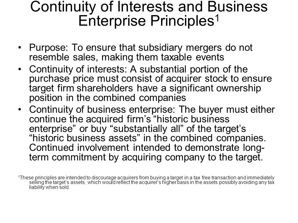Continuity of Interests and Business Enterprise Principles1