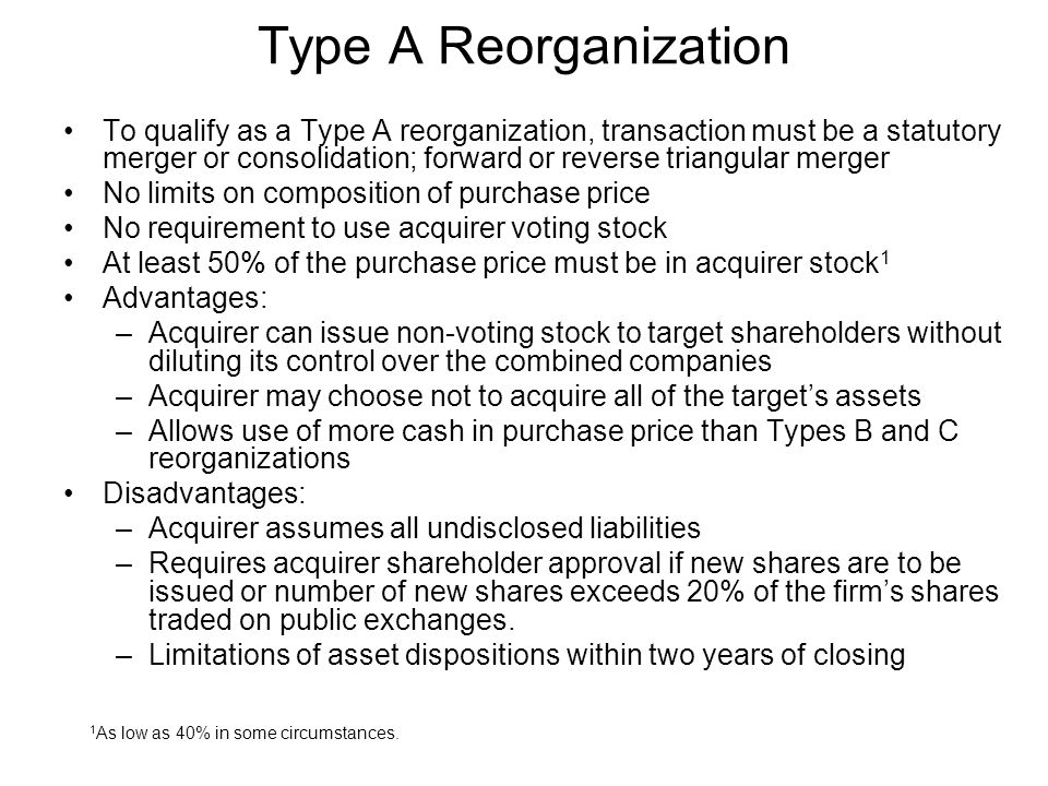 Type A Reorganization