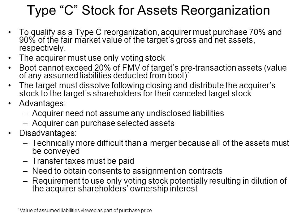Type C Stock for Assets Reorganization