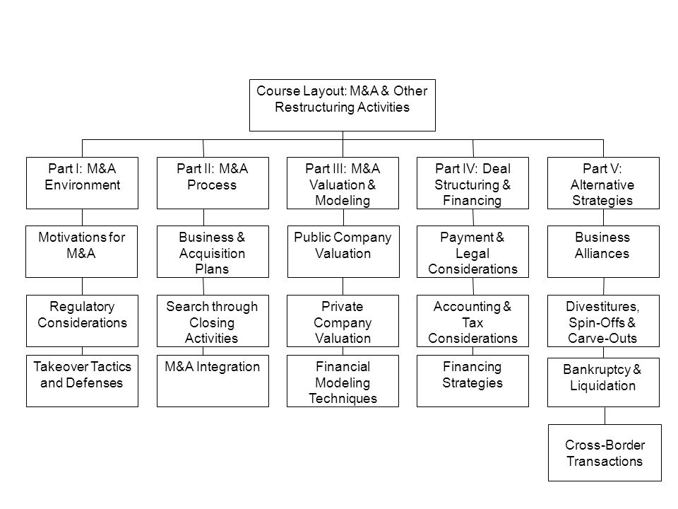 Course Layout: M&A & Other Restructuring Activities