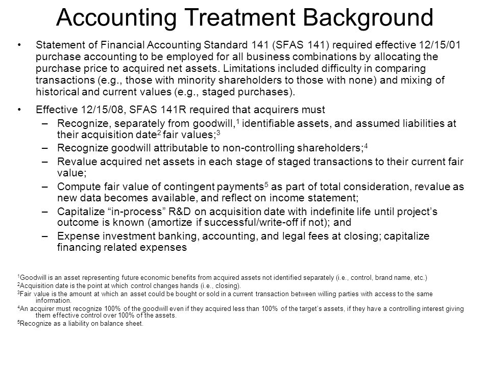 Accounting Treatment Background