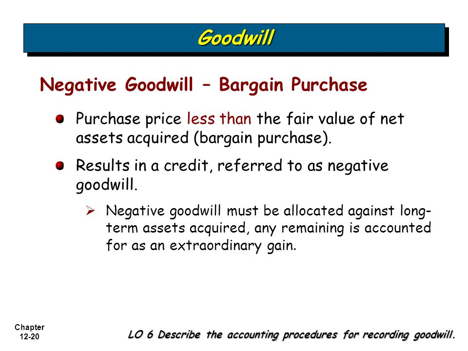 Goodwill Negative Goodwill – Bargain Purchase