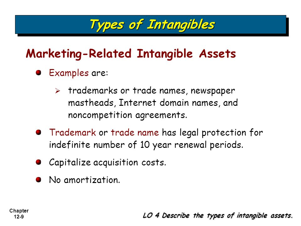 Types of Intangibles Marketing-Related Intangible Assets Examples are: