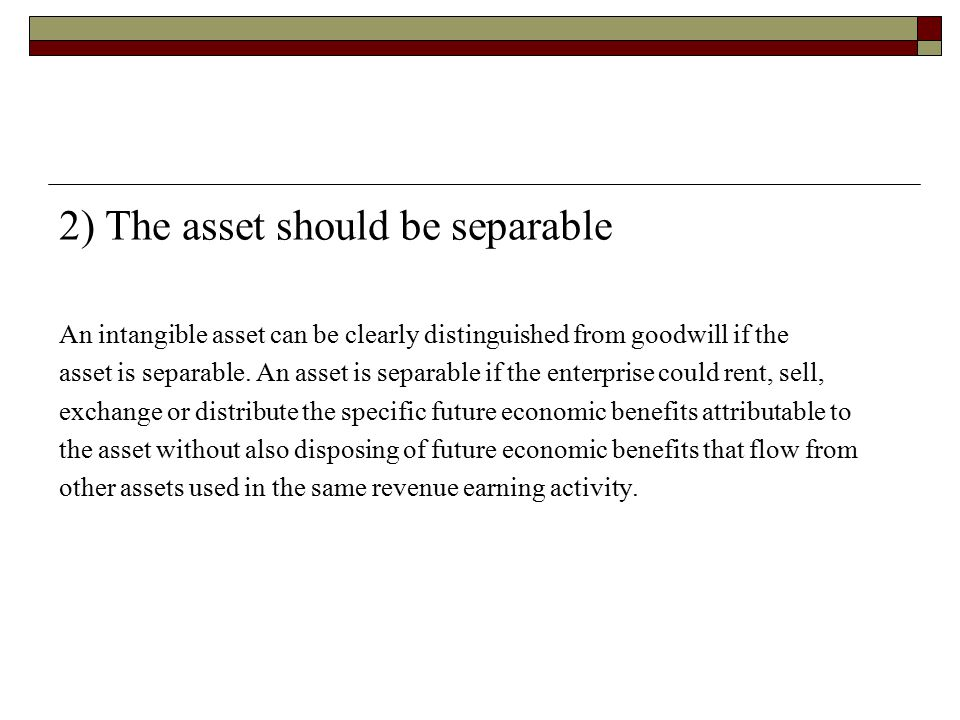 2) The asset should be separable