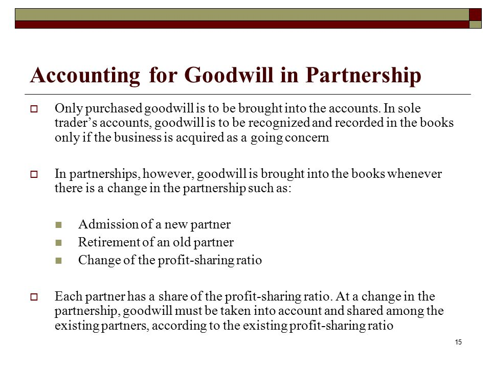 Accounting for Goodwill in Partnership