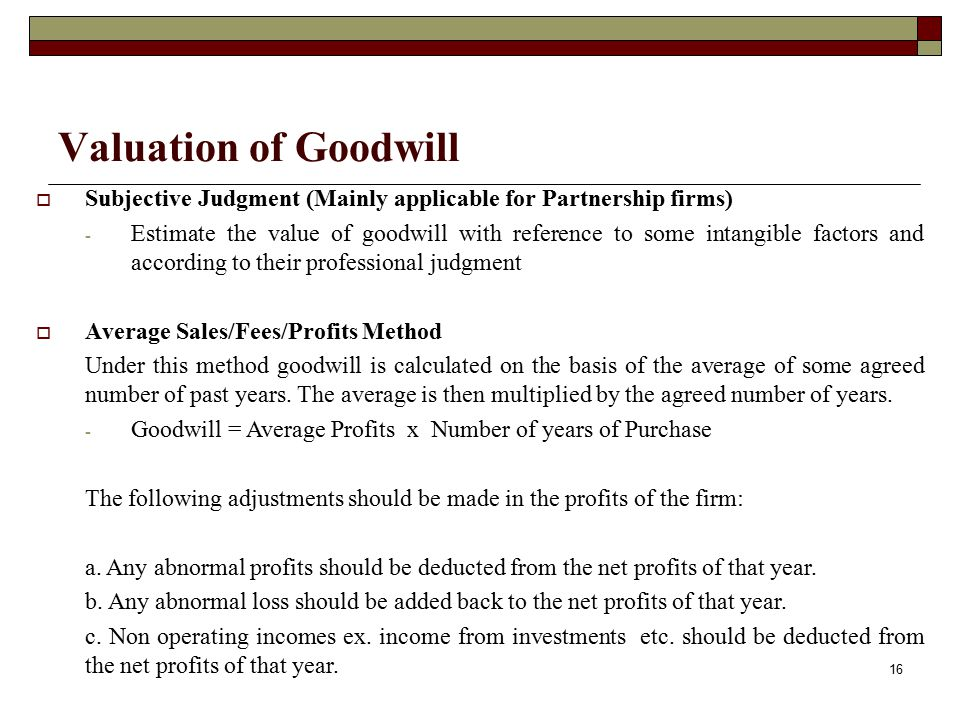 Valuation of Goodwill Subjective Judgment (Mainly applicable for Partnership firms)