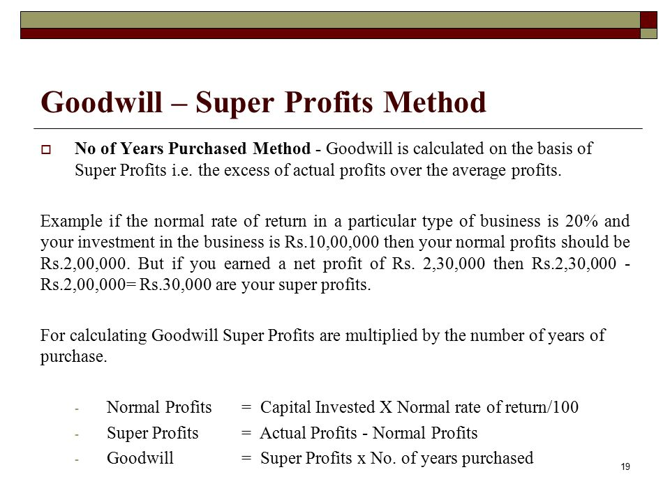 Goodwill – Super Profits Method