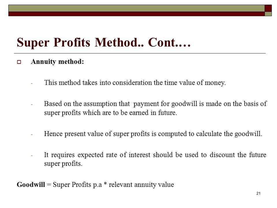 Super Profits Method.. Cont.…