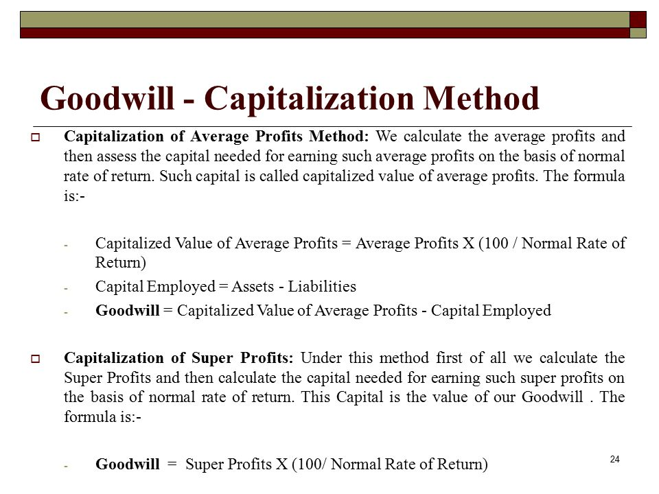 Goodwill - Capitalization Method
