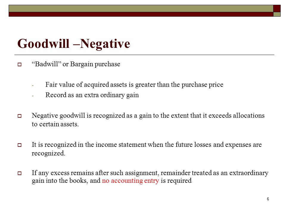 Goodwill –Negative Badwill or Bargain purchase