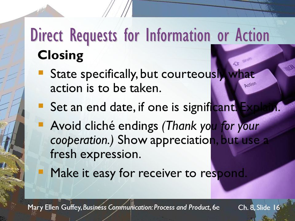 Direct Requests for Information or Action