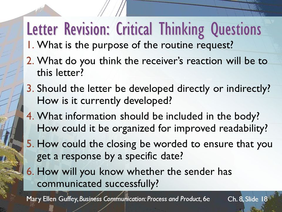Letter Revision: Critical Thinking Questions