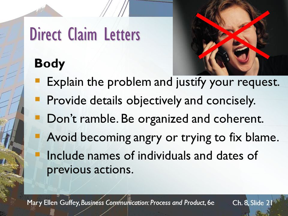 Direct Claim Letters Body