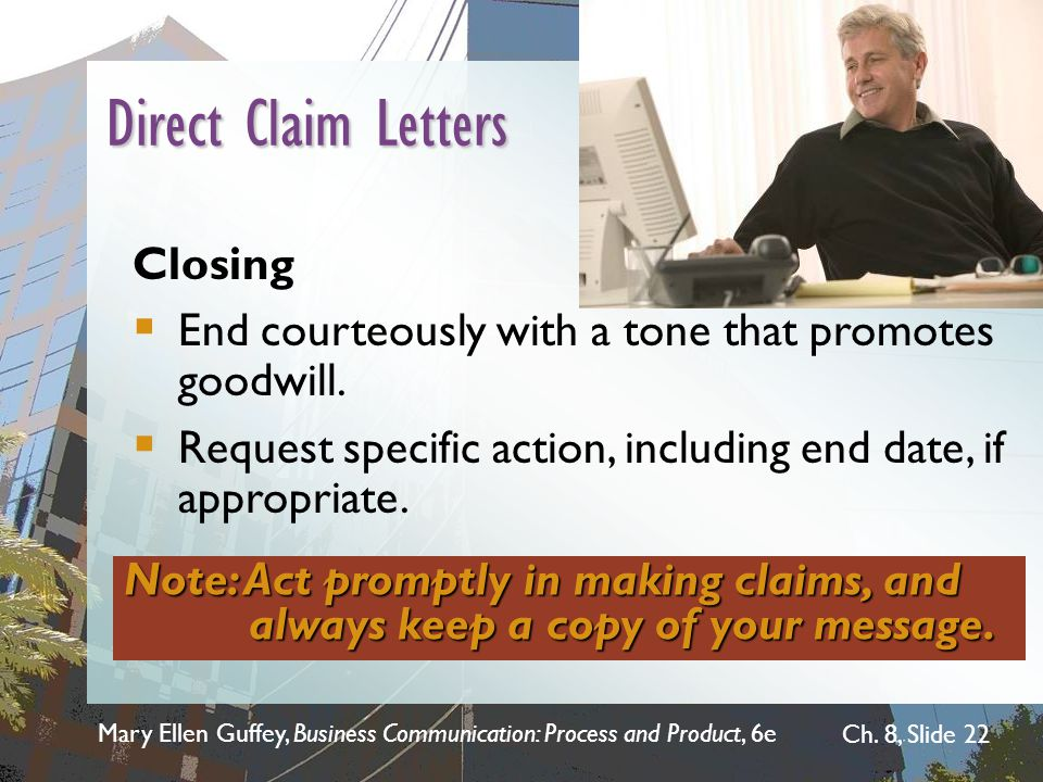 Direct Claim Letters Closing
