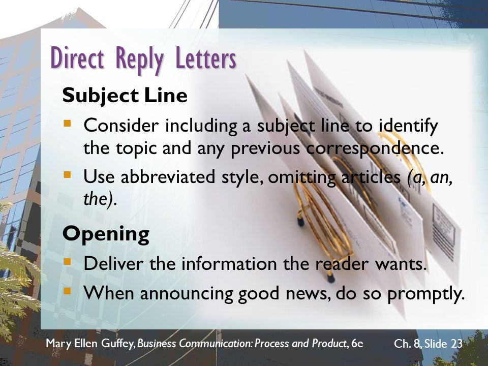 Direct Reply Letters Subject Line Opening