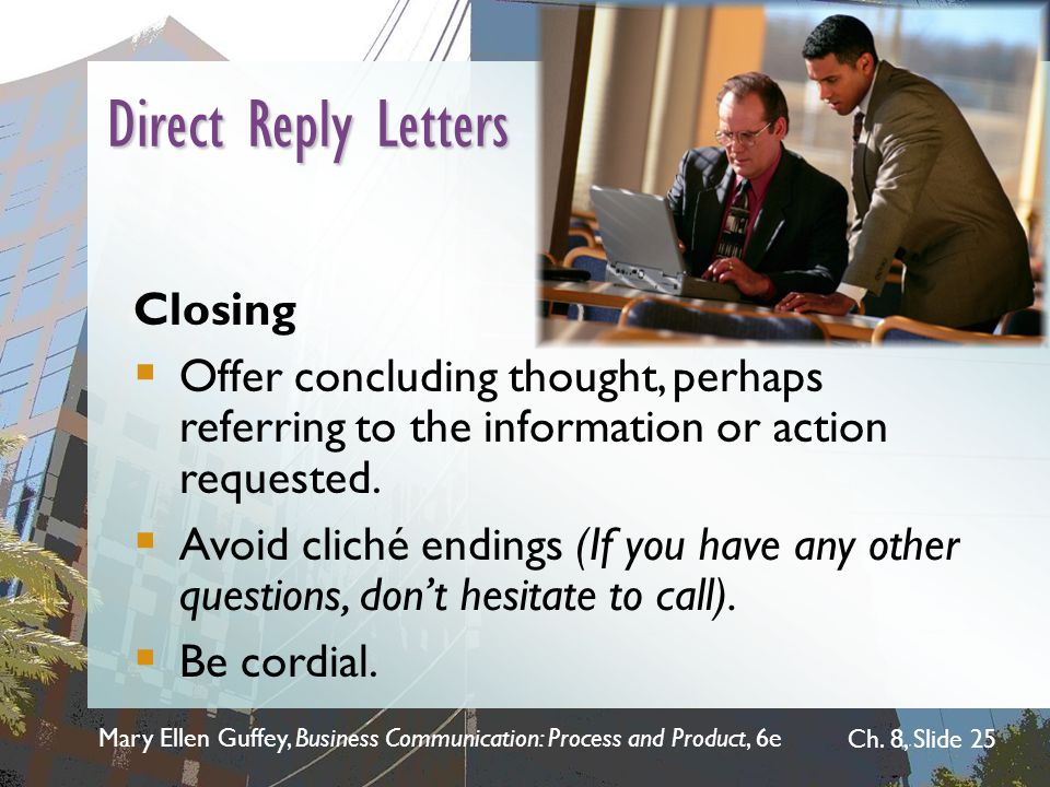 Direct Reply Letters Closing