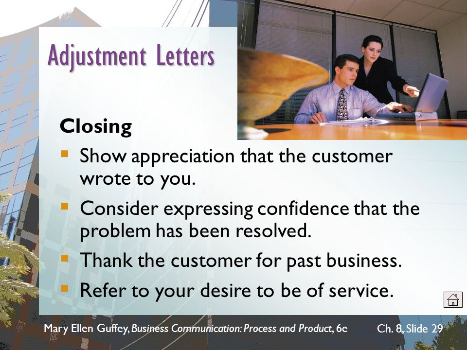 Adjustment Letters Closing