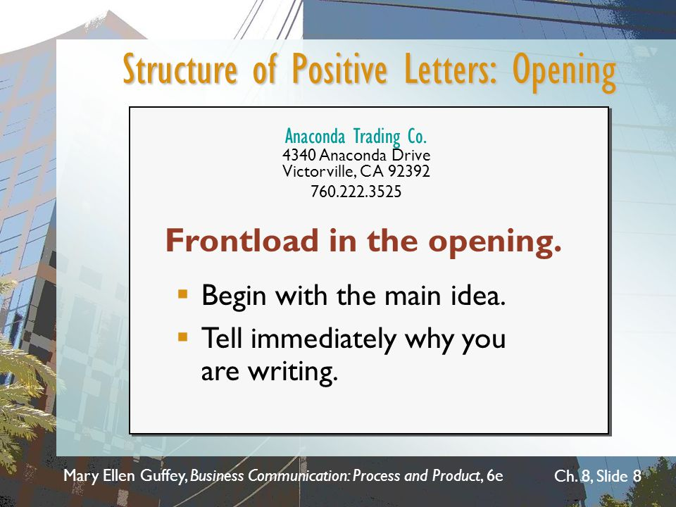 Structure of Positive Letters: Opening