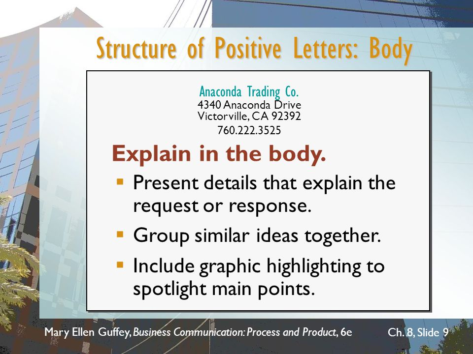 Structure of Positive Letters: Body