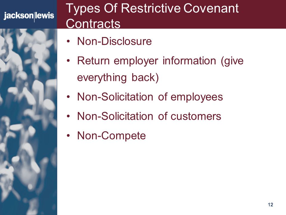 Types Of Restrictive Covenant Contracts