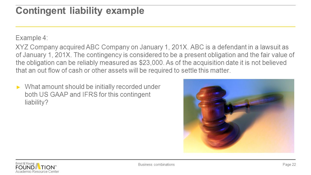 Contingent liability example
