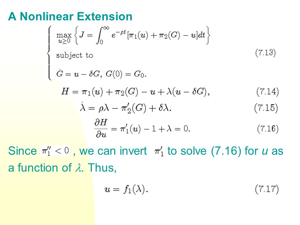 A Nonlinear Extension Since , we can invert to solve (7.16) for u as.