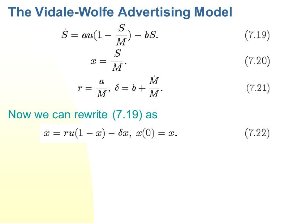 The Vidale-Wolfe Advertising Model