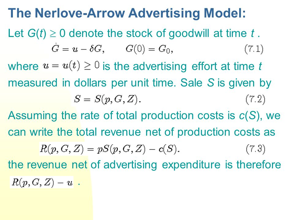 The Nerlove-Arrow Advertising Model: