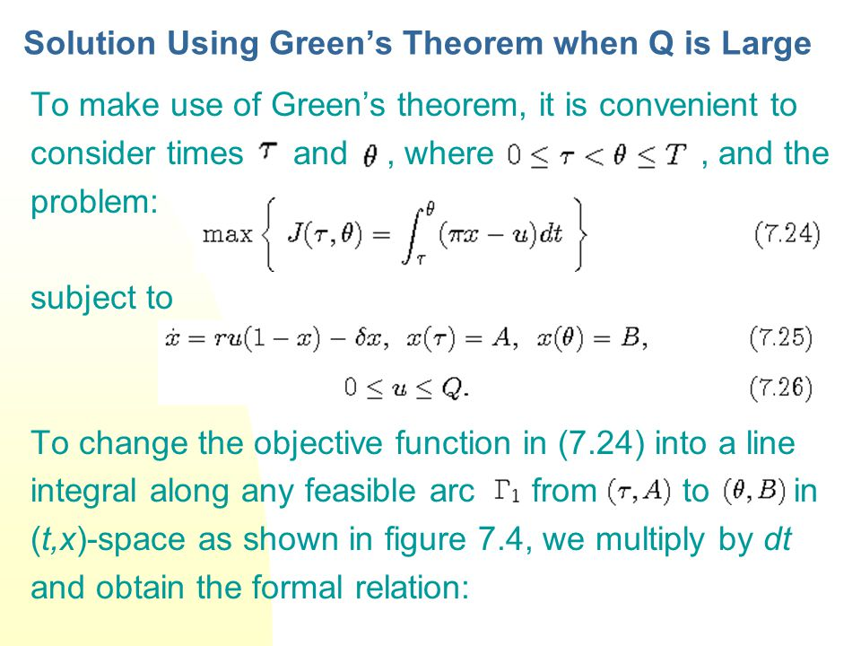 Solution Using Green's Theorem when Q is Large