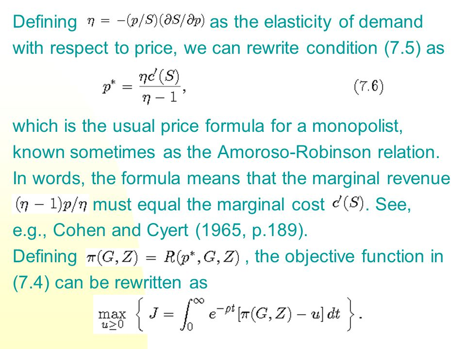 Defining as the elasticity of demand