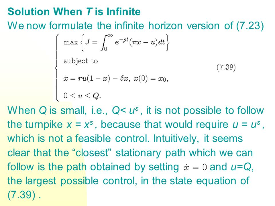 Solution When T is Infinite