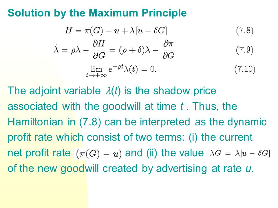 Solution by the Maximum Principle