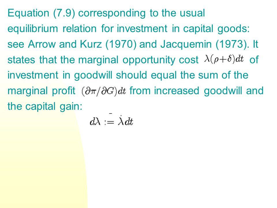 Equation (7.9) corresponding to the usual