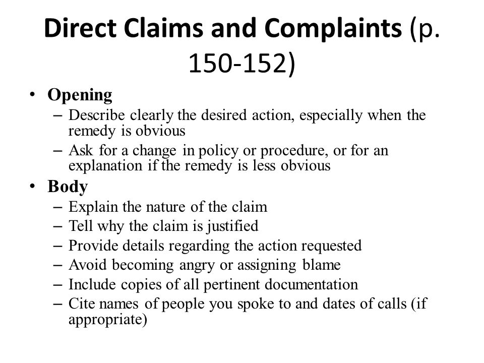 Direct Claims and Complaints (p. 150-152)