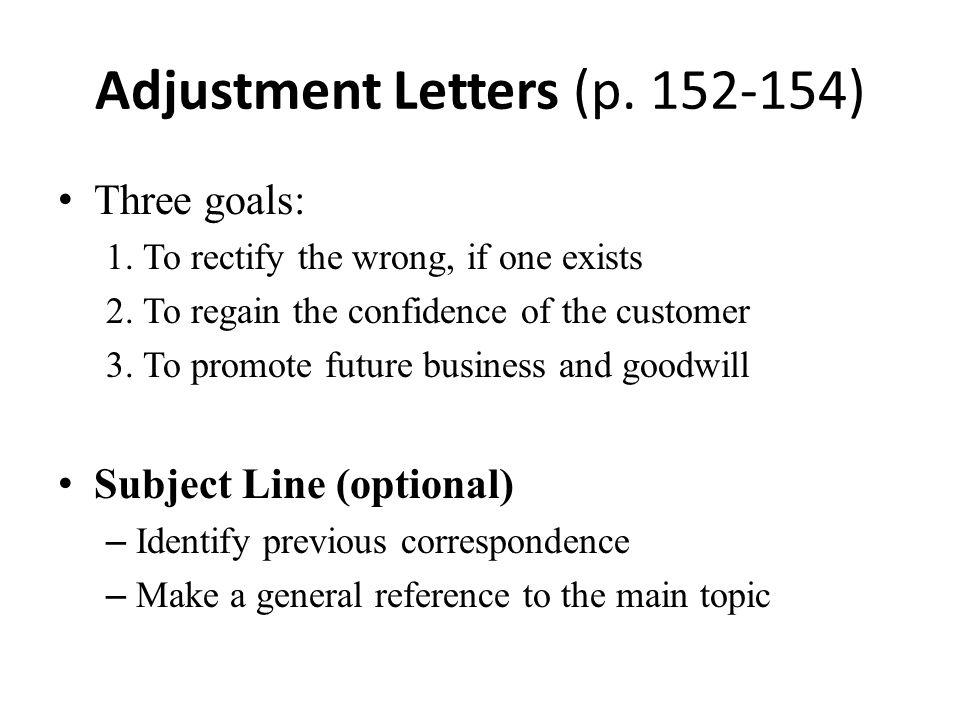 Adjustment Letters (p. 152-154)