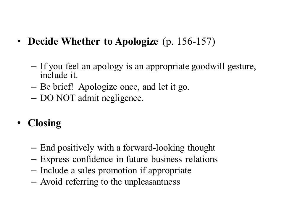 Decide Whether to Apologize (p. 156-157)